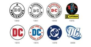 DC Comics logos over the years