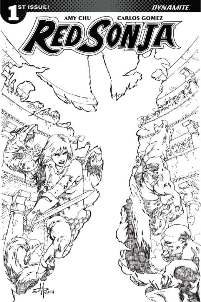 Red Sonja #1 – Cover I – 1 in 30 b&w Variant by Mel Rubi