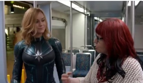 (l.-r.) Brie Larson w/ Kelly Sue DeConnick on the set of 'Captain Marvel'