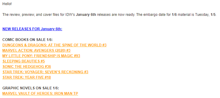 Screenshot from the press email I received from IDW last week.